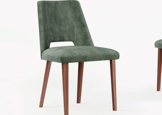 Upholstered chair in walnut. Mod. GAIA