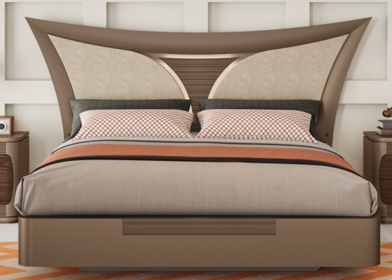 Complete lacquered bed with lacquered and upholstered headboard. Mod. ARIANNA