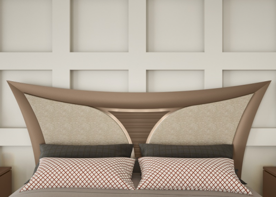 Lacquered and upholstered headboard. Mod .ARIANNA