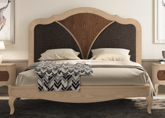 Complete bed in walnut wood and upholstered parts. Mod. RAFFALELA