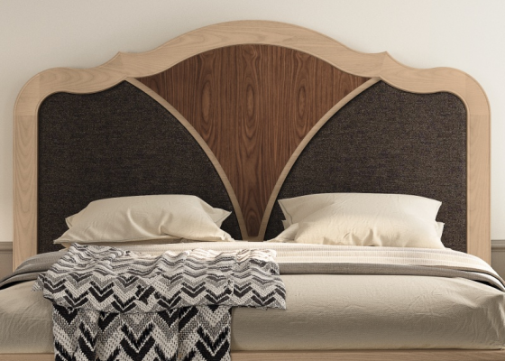 Walnut headboard with upholstered parts. Mod. RAFFAELA