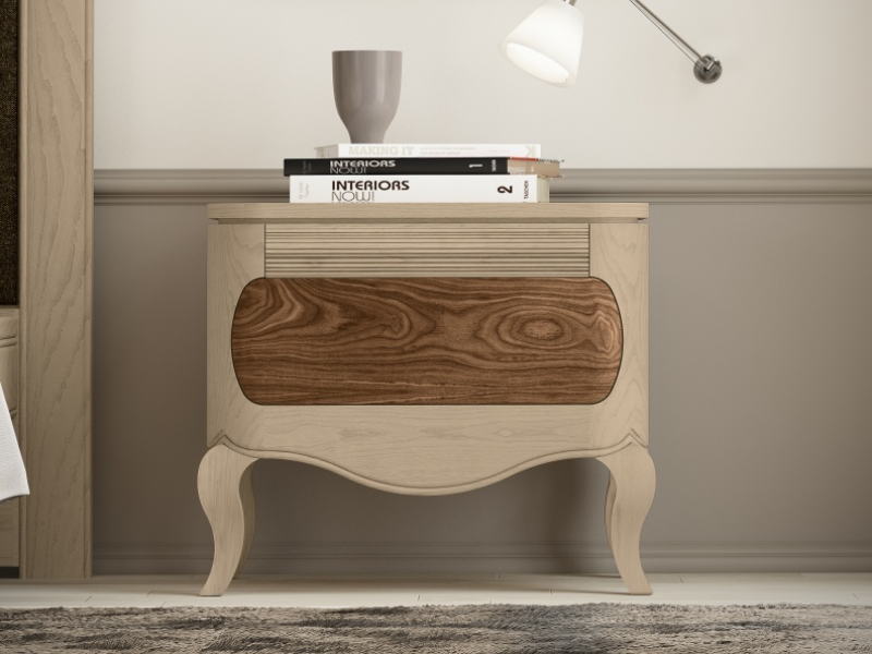 Set of 2 bedside tables with 1 drawers and chippendale legs. Mod. RAFFAELA