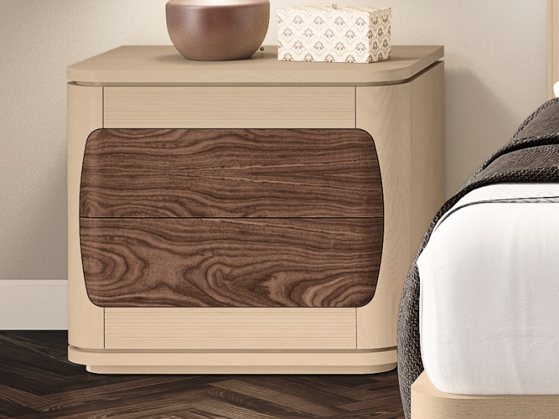 Set of 2 bedside tables with 2 drawers and baseboard. Mod. REGINA