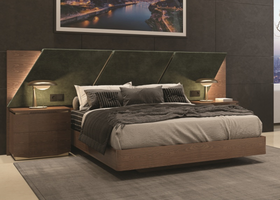 Complete bed with upholstered large headboard in walnut wood. Mod. PRASSEDE