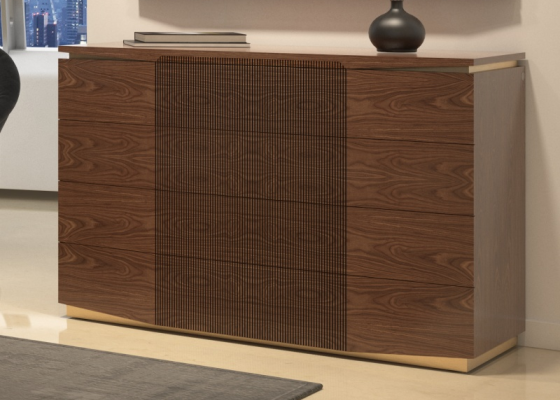 4-drawer dresser in American walnut. Mod. PRASSEDE
