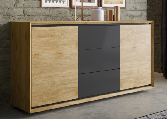 Oak wood sideboard with 2 doors and 3 drawers. Mod. JANKO