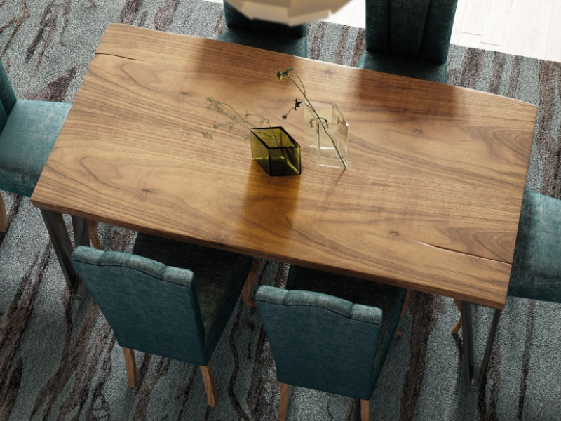 Fix dining table with ash wood top. Mod. TRANI
