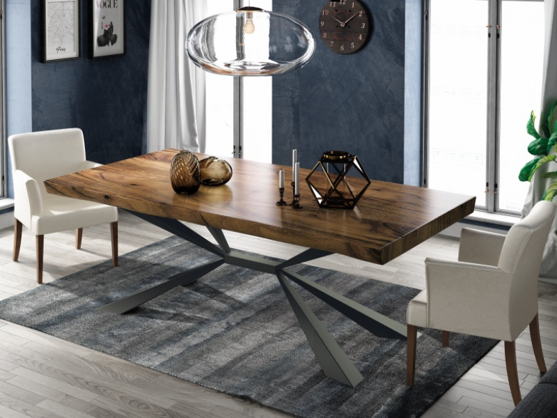 Fix dining table with ash wood top. Mod. MOLISE