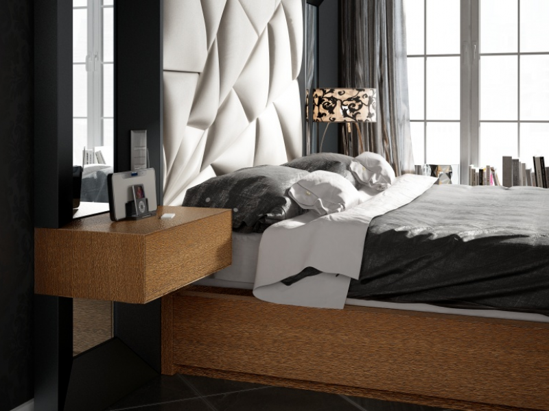 Complete upholstered and lacquered bed with side mirrors.Mod: TAHIRA