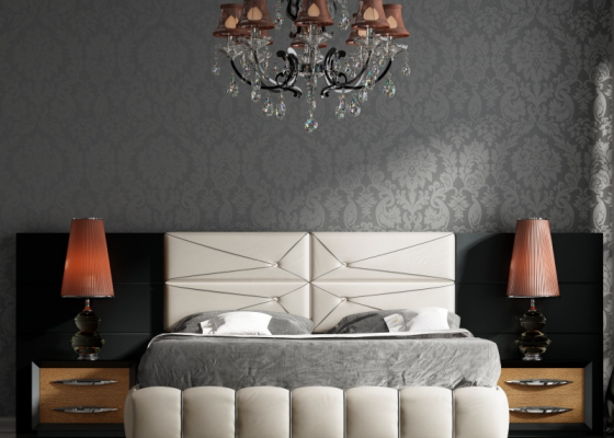 Large lacquered and upholstered headboard. Mod. BASIMA