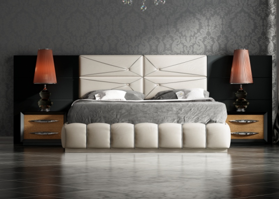 Lacquered and upholstered complete bed. Mod. BASIMA
