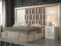 Oak and upholstered complete bed with XXL headboard. Mod: SIMA