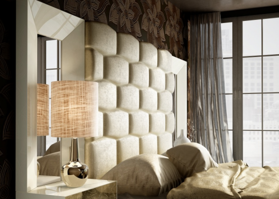 Upholstered and lacquered headboard with side mirrors.Mod: JANAAN