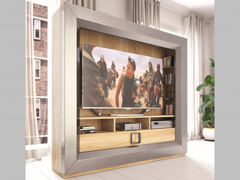 Lacquered and  oak veneered TV cabinet.Mod: KIRVI