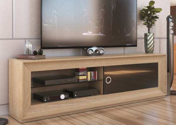 Lacquered and  oak veneered TV cabinet.Mod: MELINA