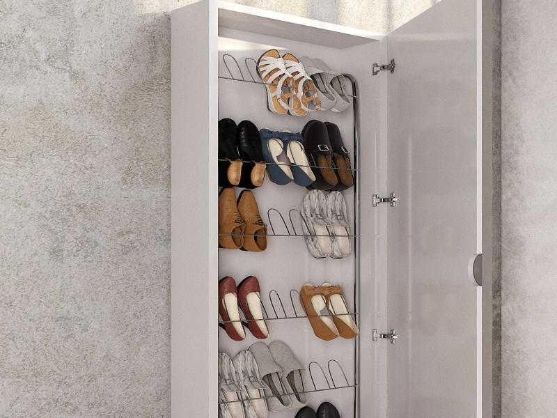 Lacquered shoe rack column with mirror.Mod: ANTARA