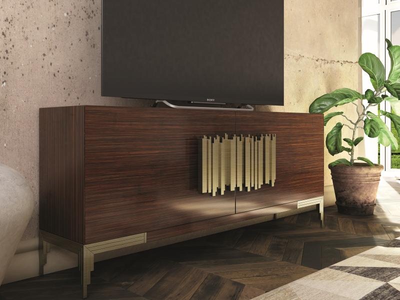 Lacquered and  oak veneered TV cabinet.Mod: CATANIA