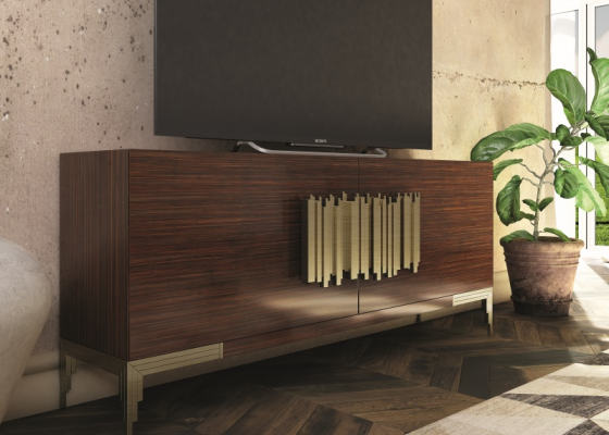 Lacquered and  oak veneered TV cabinet.Mod: CATANIA