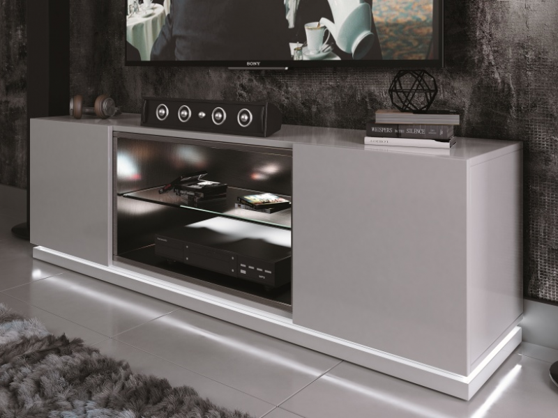 Lacquered TV cabinet with led light.Mod: DAMA