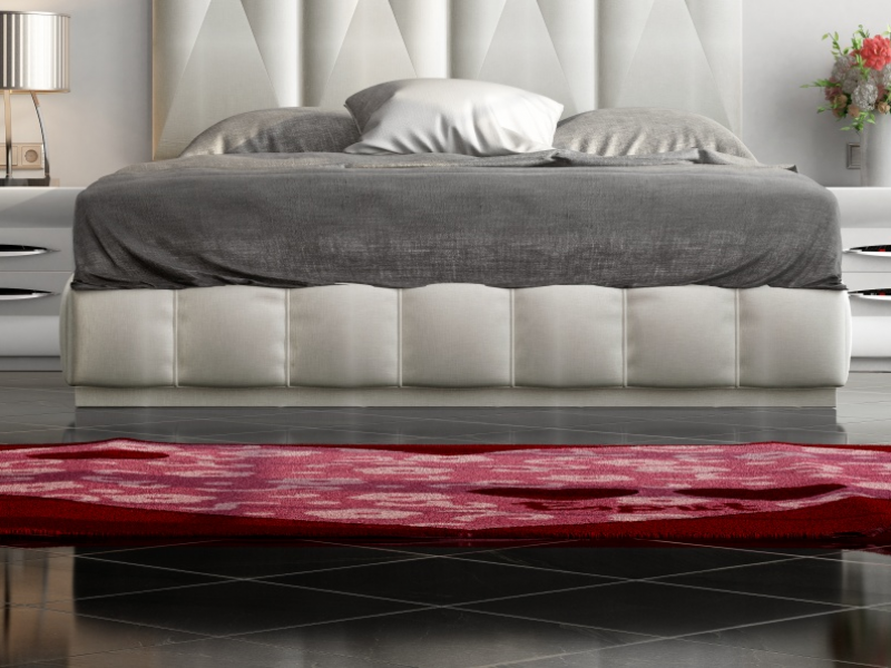 Lacquered and upholstered complete bed with XXL headboard. Mod: LAPIS
