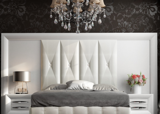 XXL lacquered headboard with upholstered central part. Mod: LAPIS