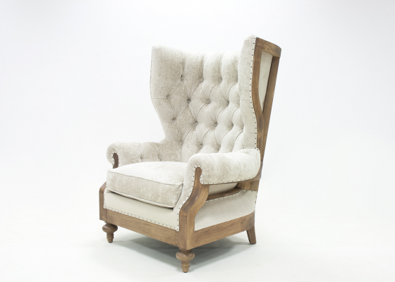 Wing upholstered and padded armchair in fabric. Mod. SIR WILLIAMS