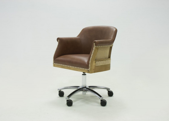 Swivel upholstered armchair in genuine leather. Mod. LYON LEATHER/WOOD