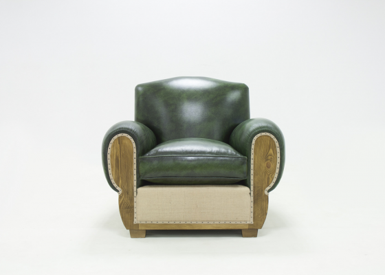 Upholstered armchair in genuine leather. Mod. BARFLEUR