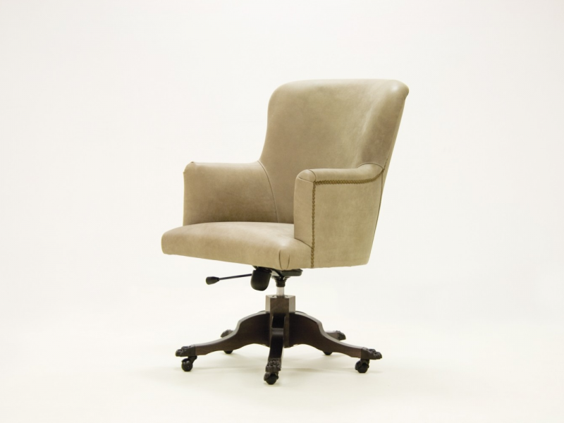 Swivel upholstered armchair in genuine leather. Mod. CITY LEATHER