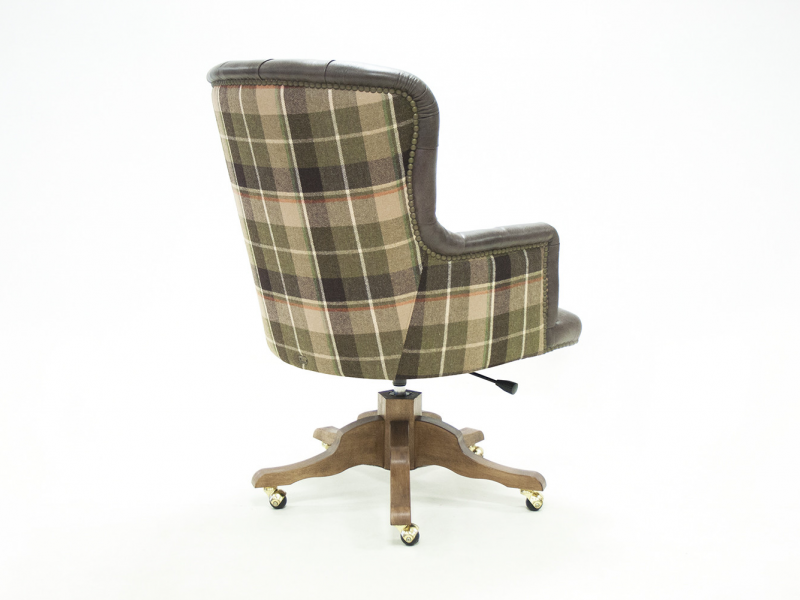 Swivel upholstered armchair in genuine leather and fabric. Mod. CITY LEATHER/FABRIC