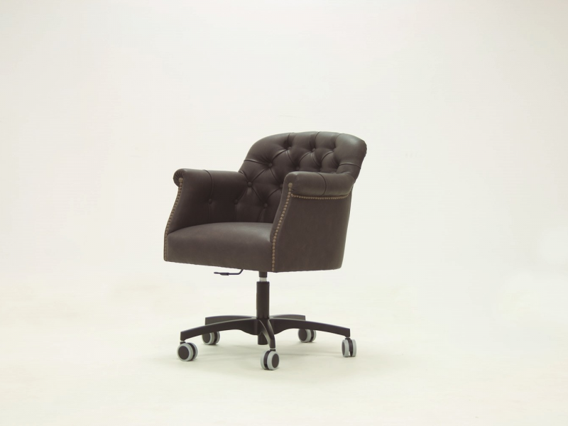 Swivel padded upholstered armchair in genuine leather. Mod. LYON LEATHER