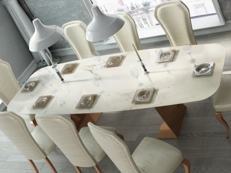 Dining table with marble top. Mod. FIYI