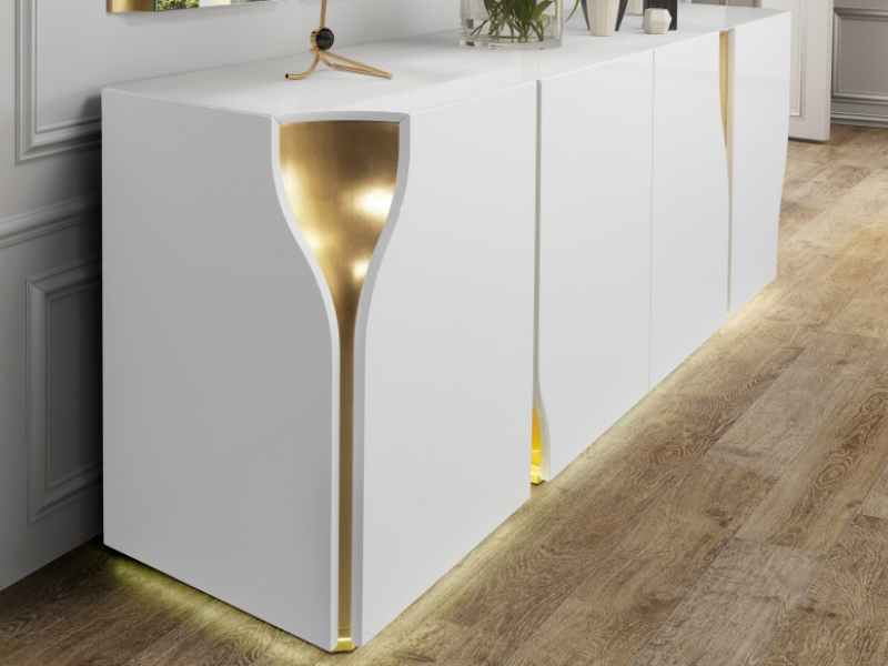 High gloss lacquered sideboard with baseboard and led light. Mod. ESSENCE