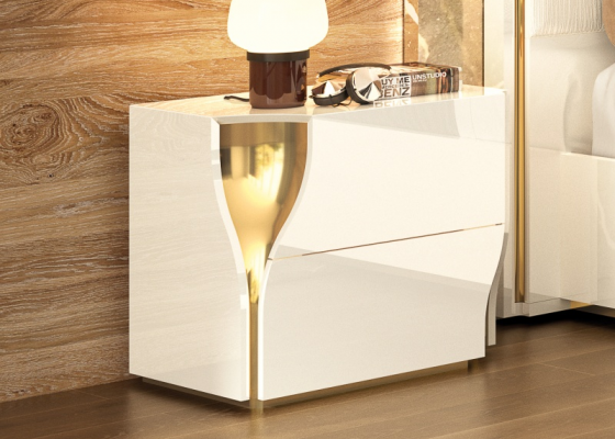 2-drawer high gloss lacquered bedside tables. Mod: ESSENCE