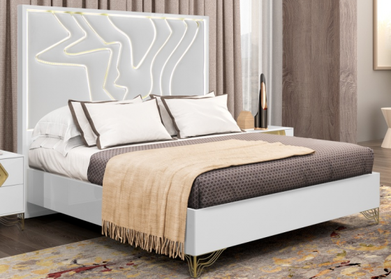 Lacquered and upholstered complete bed with led light. Mod. TERRA