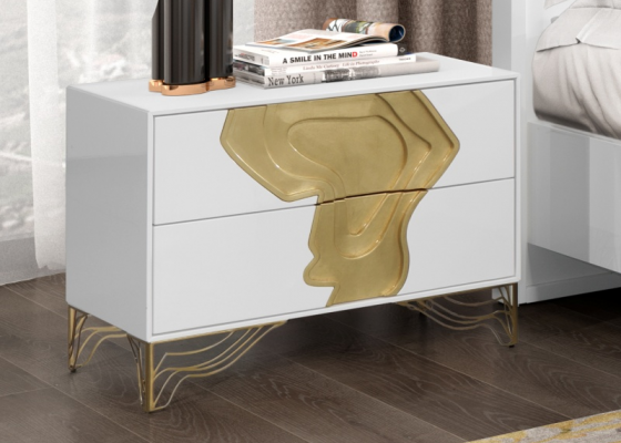 High gloss lacquered 2-drawer bedside tables. Mod. TERRA