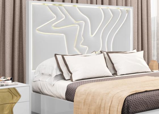 Cabecero lacado y tapizado con luz led integrada. Mod: TERRA