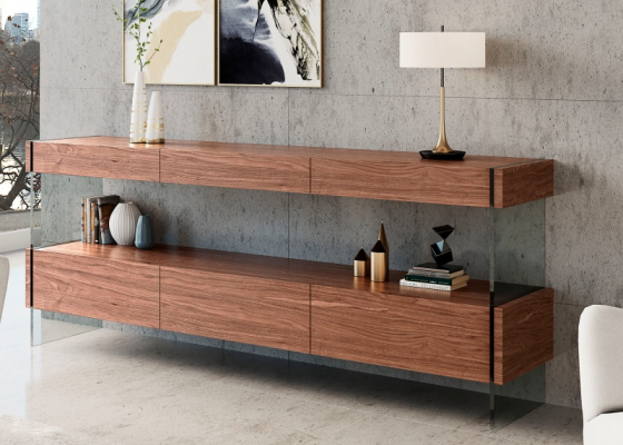 Walnut sideboard with drawers. Mod. MIAD