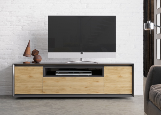 Lacquered TV cabinet with 2 doors and drawer. Mod. JANKO TV-C