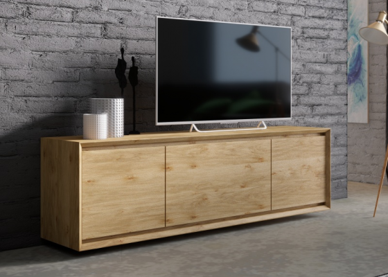 Oak wood TV cabinet with 3 doors. Mod. JANKO TV