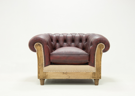 Chester armchair upholstered and padded in genuine leather. Mod. MARGATE