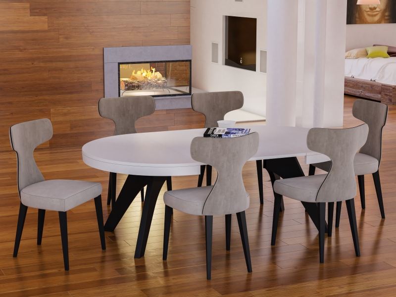 Extensible round  dining table. Mod. ROUND