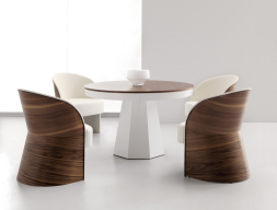 Extensible round  dining table. Mod. MALDON