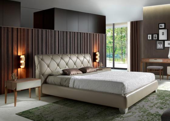 Complete upholstered  bed.Mod: HORN
