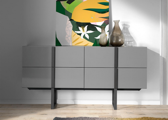 Sideboard with structure in oak veneer painted in wengue and black steel legs. MOd: VIVALDI