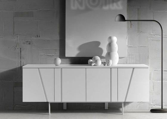 Lacquered sideboard and legs in chrome steel .Mod: GEOMETRIC