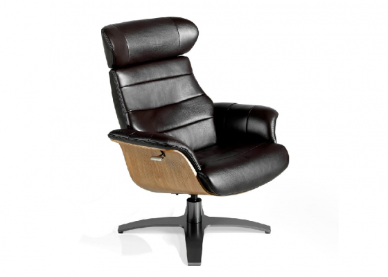 Swivel relax armchair upholtered in cowhide. Mod: BÉLIER