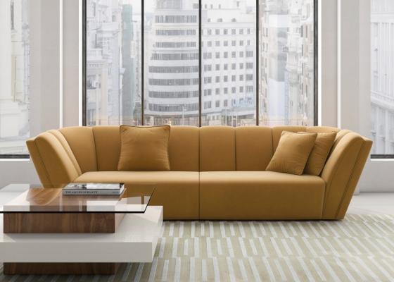 Design sofa upholstered in velvet. Mod. RAYZA