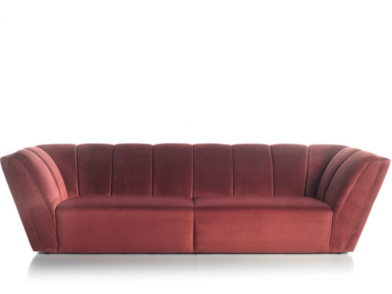 Design sofa upholstered in velvet. Mod. RAYZA