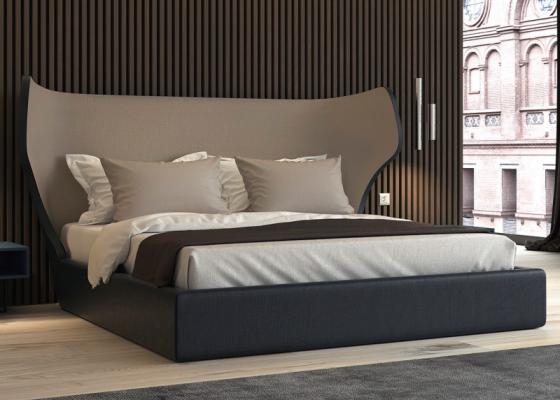 Complete bed upholstered in velvet. Mod. SAMIA